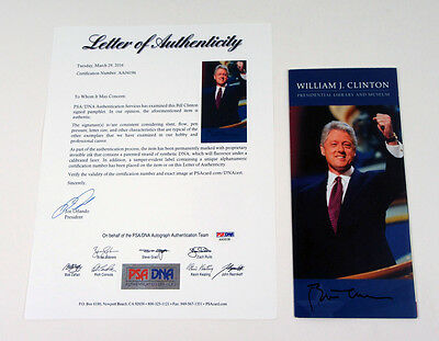Bill Clinton Signed Presidential Library Pamphlet PSA/DNA Auto