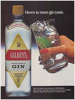 Original 1983 Gilbey's London Dry Gin Vintage Print Ad