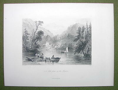 CANADA Lake Farm on Frontier - 1880s Antique Print Engraving
