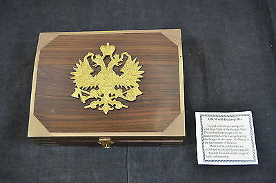 Old World Russian Tsar Eagle Crest Wood and Brass Desk Top Box 900-3