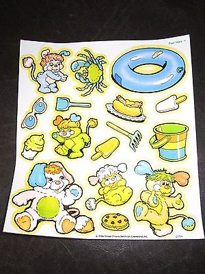 Vintage Popples at the Beach Colorform Sticker Sheet 1986 New NOS