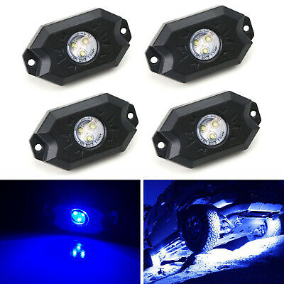 Blue 3-CREE 9W High Power LED Rock Light Kit For Jeep Truck SUV Off-Road Boat