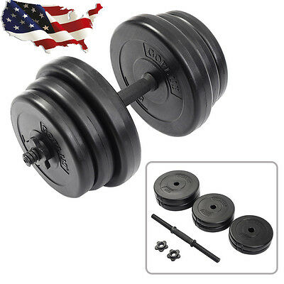 Weight Dumbbell Set 44 LB Adjustable Cap Gym Barbell Plates Body Workout