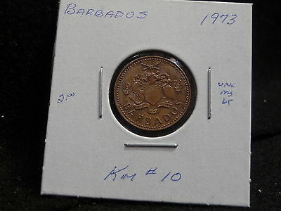Barbados:   1973   One Cent  Coin   (Unc.)    (#921)  Km # 10