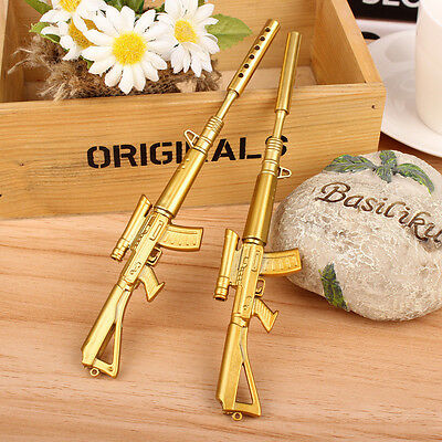 Novelty Cute Ballpoint Pen Gold Rifle Shape Black Ink Pen Creative Stationery