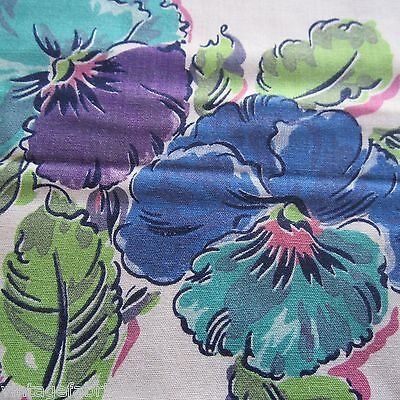 258Cm Supber Vintage 1940S 1950S Purple Pansy Sewing Dress Fabric Rayon? Cotton?