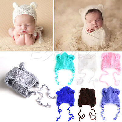Newborn Baby Boys Girls Hat Bear Crochet Knit Costume Photo Photography Prop