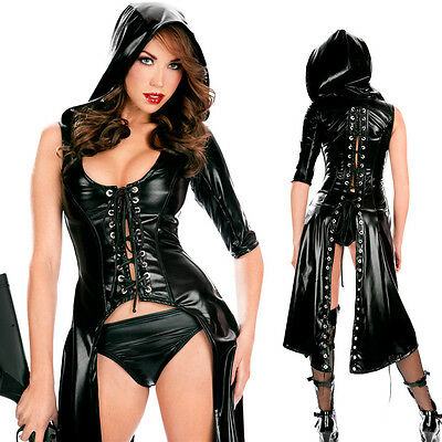 New Sexy Women PVC PEA HOODED COAT Wetlook Faux Leather Crotchless Clubwear Cool