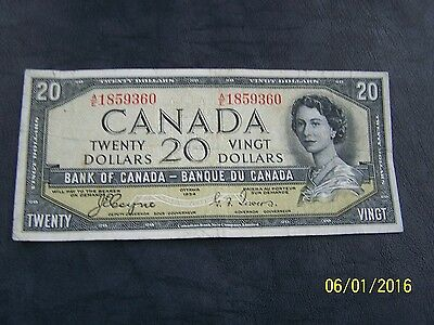 1954 $20 Dollar Bank of Canada note Devil's face Coyne-Towers A/E 1859360