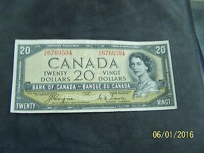 1954 $20 Dollar Bank of Canada note Devil's face Coyne-Towers A/E 6769594