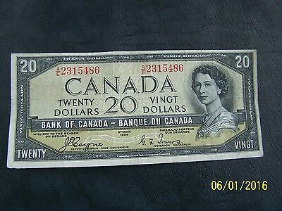 1954 $20 Dollar Bank of Canada note Devil's face Coyne-Towers A/E 2315486