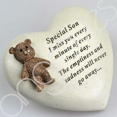 Special Son Textured Teddy Bear Heart Graveside Memorial Ornament Plaque
