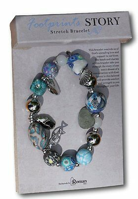 Footprints in the sand prayer stretch bracelet