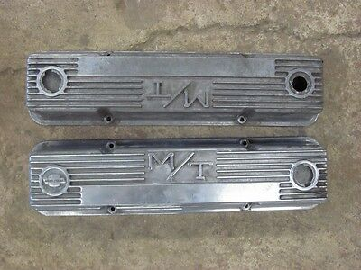 Vintage M/T Finned Valve Covers 327 350 Small Block Chevy Pair