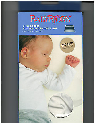 BabyBjorn Fitted Sheet for Travel Crib Cot Light Organic Cotton White