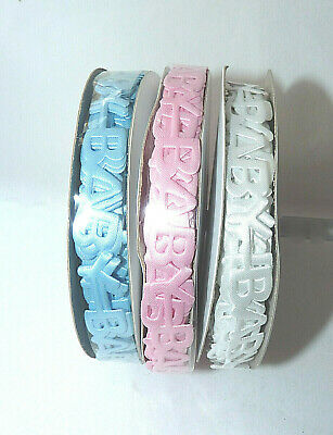 Assorted Satin/ Grosgrain Baby Ribbon -White/ Pink Or Blue - 10Mm # Craft/gift