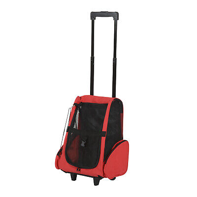 PawHut Pet Travel Backpack Bag Cat Puppy Dog Carrier w/ Trolley and Telescopic