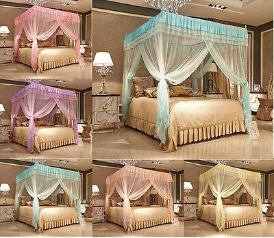 Luxury Lace 4 (Four) Corner Post Bed Canopy Mosquito Netting Or Frame/Post