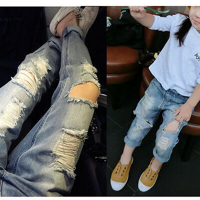 Kids Girls Boys Ripped Jeans Fashion Clothing Trousers Pants Size 2-7 Years