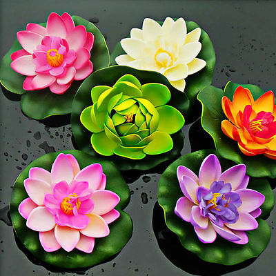 Beautiful Fake Water Lily Floating Flower Home Decor Tank Plant Ornament NEW