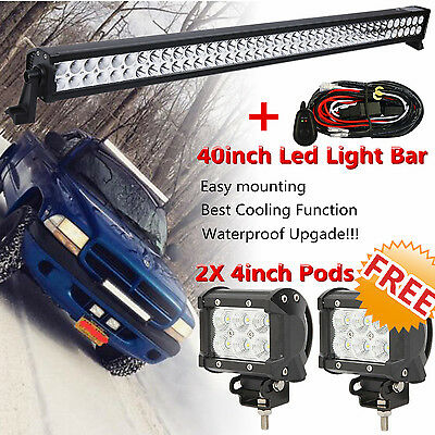 "40inch Offroad LED Light Bar Combo Flood Spot +2× 4"" CREE Pods Truck SUV 4WD 42"