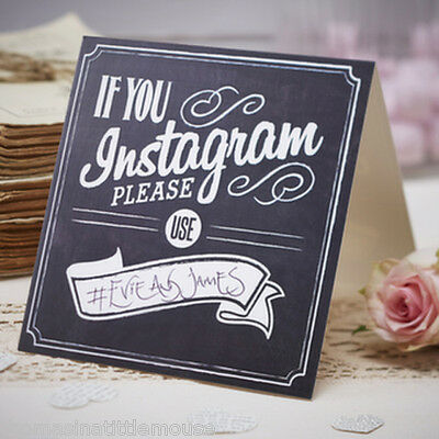 INSTAGRAM sign chalkboard style Vintage Wedding Decor pack of 5 - Ginger Ray