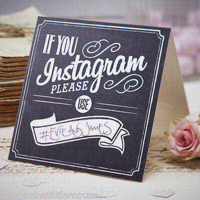 INSTAGRAM sign chalkboard style Vintage Wedding Party Table Decor x 5 Ginger Ray