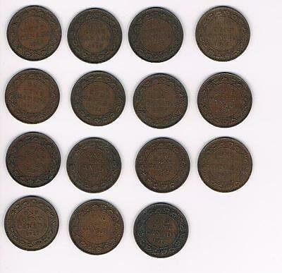 1917 Lot of 15 Canada Large Cent Coins-Nice Grade