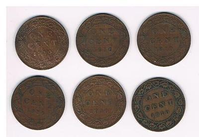 1910 Lot of 6 Canada Large Cent Coins-Nice Grade