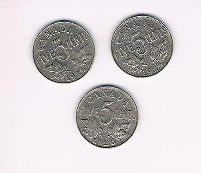 1926 Lot of 3 Canada Five Cents (5Cents) Coins-Nice Grade