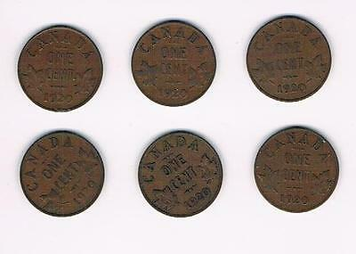 1920 Lot of 6 Canada Small Cent Coins-Nice Grade