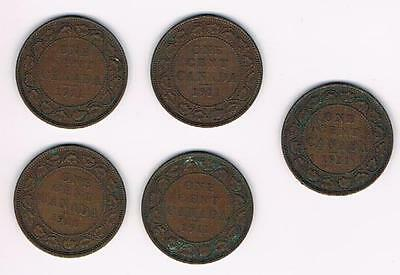 1911 Lot of 5 Canada Large Cent Coins-Nice Grade
