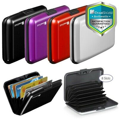 GreatShield [8 Slot] Compact Slim Aluminum RFID Card Holder Wallet Lock Case