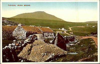 Irland Color Irland AK ~1940/50 Typical Irish Scene Landschaftspartie Haus Berge