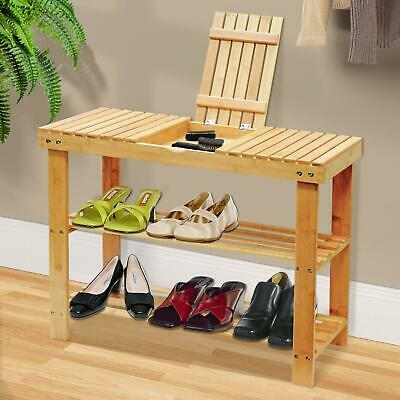 3 Tier Bamboo Wooden Shoe Rack Stand Bench Storage Compartment Organiser Shelf