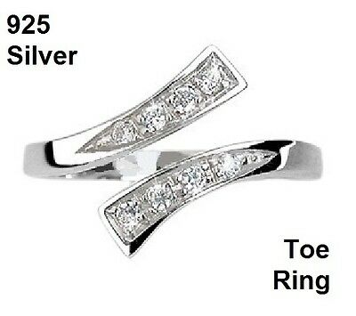 Small Crossover Ring or Toe Ring - 925 Sterling Silver - Adjustable - Boxed