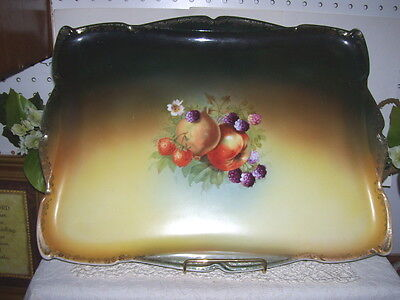 """Antique Handpainted Fruit And Berries Tray 12"""" X 16"""" Bavaria"""