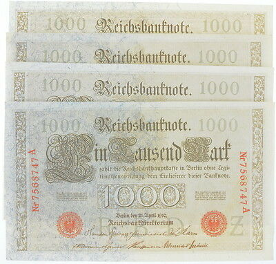Lot of 4 1910 German Bank Note 1000 Mark Reichsbanknote AU+ Consecutive Serials