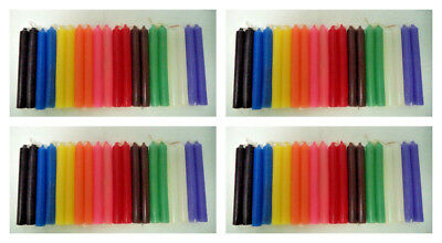 """SET OF 80 MIXED COLOR / ASSORTED SPELL / CHIME CANDLES, 4"""" X 1/2"""" (Altar)"""