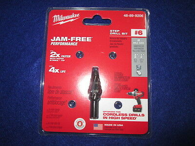 "Milwaukee 48-89-9206 #6 Step Drill Bit 3/8""-/12"" By 1/16"" New"