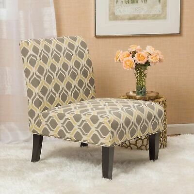 Yellow And Grey Fabric Slipper Chair (Set Of 2)