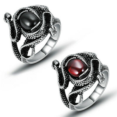 Women Stainless Steel Fashion Red Cubic Zirconia Double Snake Band Finger Rings