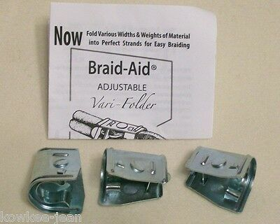 Braid-Aid varifolders: fabric folders, tools, braiding rugs, updated style, used