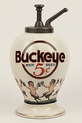 Excellent Rare Original Buckeye Root Beer Ceramic Soda Syrup Dispenser w/ Satyrs