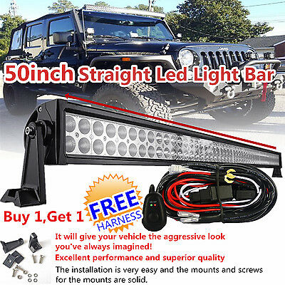 50inch 288w Offroad LED Work Light Bar Flood Spot Driving Jeep SUV 4WD Wrangler