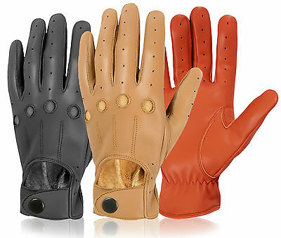 Best Soft Sheep Nappa Leather Mens Driving Dress Gloves Chauffeur Retro Unlined