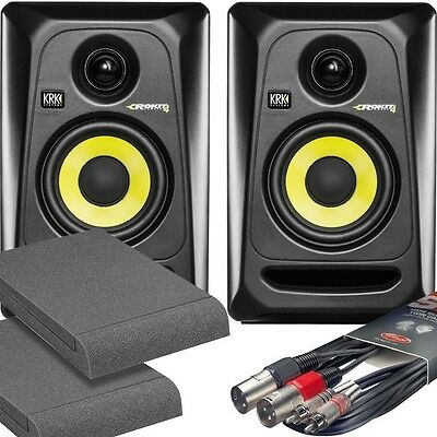2x KRK RP4 G3 Black Studio Monitor Speakers with Isolation Pads and Cables