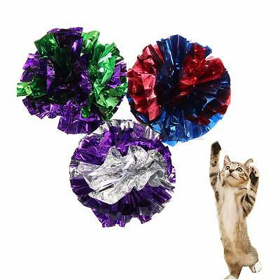 3x Crinkle Crackle Paper Rustle Sound Ball Cat Kitten Pet Fun Activity Play Toys