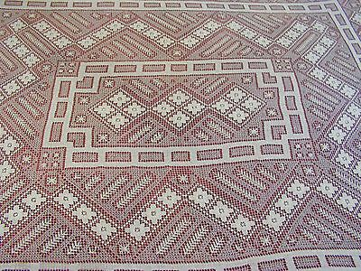Antique Handmade Filet Lace Tablecloth Oblong Ecru 68 x 84 France Italy H