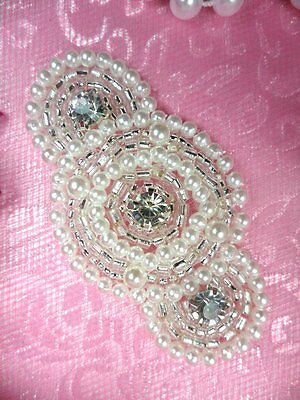 "JB129 Rhinestone Applique Silver Pearl Beaded 2.25"" ~Petite~Adorable! @ Glory's"